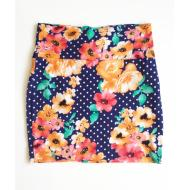 5 7 9 Navy Polka Dot & Floral Skirt (S)