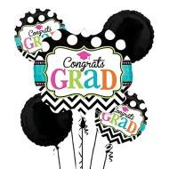 Foil Balloon Bouquet - Congrats Grad, Dream Big - 5 Balloon - 6ft