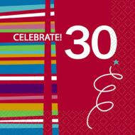 Beverage Napkins- 30th Birthday Celebration- 16pk/2ply