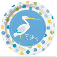Plates-LN-Baby Boy Stork-8pk-Paper - Discontinued