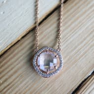 Rose Gold Necklace w CZ and Rose Quartz
