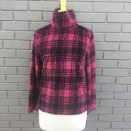 Red Black Plaid Fleece Mock Pullover