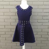 Navy Suede Studded Dress