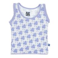 Forget Me Not Floral Print Scalloped Edge Tank
