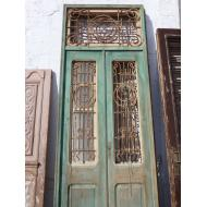 Tall Green Egyptian Doors w/ Transom