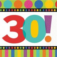 Napkins-LN-30th Bday Dots and Stripes-16pk-2Ply