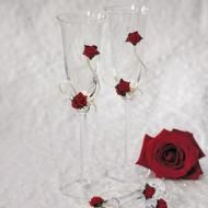 Flute Wedding Glasses-Red Roses-2pkg-9.5""
