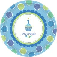 Plates Bev-Cupcake Boy-18pk-Paper - Discontinued