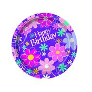 "Paper Lunch Plates- Birthday Blossom- 8pk/9"" - Discontinued"