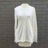 Natural White Slub Knit Ruffle Back Tee