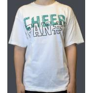 T-shirt - Blanc Cheer Fan Turquoise