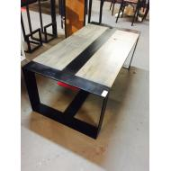 2'x4' Cypress and Steel Center Rail Coffee Table