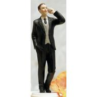 Cake Topper-Groom with Cell Phone-1pkg-14cm