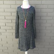 Knit Long Sleeve Button Back Skater Dress