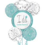 Foil Balloon Bouquet - I Do Elegant Teal Wedding - 5pkg - 2.25ft