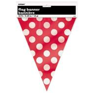 Flag Banner-Ruby Red Dots-12Ft-Plastic
