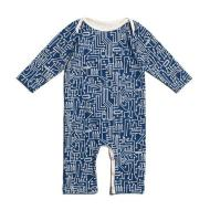 Long-Sleeve Romper - Circuit Board Navy
