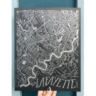 Lafayette City Map Art Print