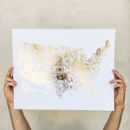 USA State Flower Gold Foil Map 16 x 20 Print