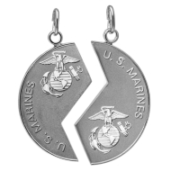 Military Metal Set Marines 2 Sterling silver charms on stainless chains