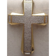 14K YG 3.00ctw Diamond Cross