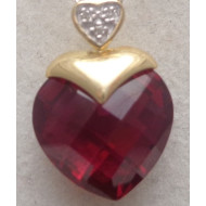 14K Yellow Gold Ruby Heart Pendant