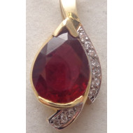 14K YG .25ctw Diamond and Ruby Pendant