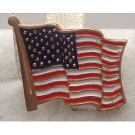 14K YG US Flag Pin