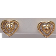 14K YG .25ctw Diamond Heart Earrings