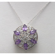 10K WG  Amethyst Pendant with White Gold Necklace