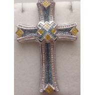 14K WG 6 ctw Diamond Cross