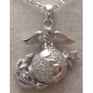 14K White Gold Eagle and Anchor Pendant