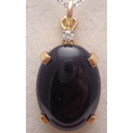 14K Yellow Gold Onyx Diamond Pendant