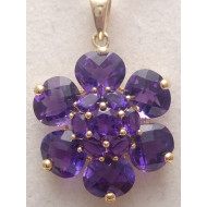 Womens 14K Yellow Gold Amethyst Pendant