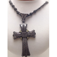 Mens Black Gold Over Silver Necklace with Cross