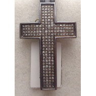 10K Black Gold .75ctw Diamond Cross