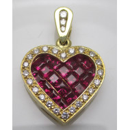 Beautiful Diamond & Ruby Heart Pendant