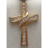 14K YG 1.00ctw Diamond Cross