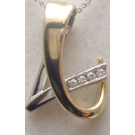 14K Two Tone .20ctw Diamond Pendant