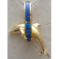 14K Yellow Gold Opal Dolphin Pendant