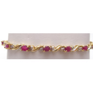 10K YG Ruby Diamond Bracelet