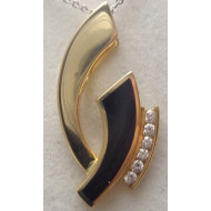 14K YG .18ctw Diamond and Onyx Pendant
