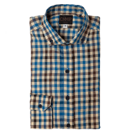 Blue / Brown Tattersall Brushed Twill Shirt