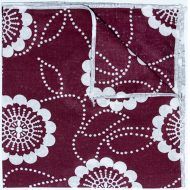 Maroon Daisy Pocket Square