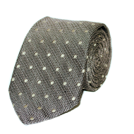 Silk Polka Tie - Light Grey