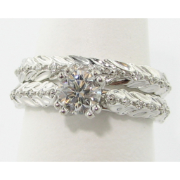 Laurel Leaf Wedding Set, White Gold & Diamond