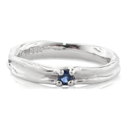 Skinny Melted Band with Sapphire, Sterling Silver