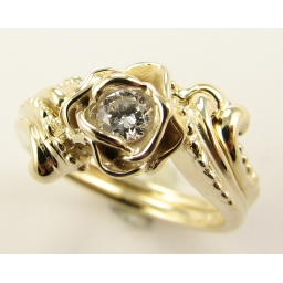 Loves Long Lost Rose Wedding Set, Yellow Gold & Diamond