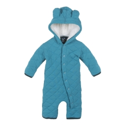 Kickee Pants Quilted Hoodie Coverall w/Sherpa Hood Bay with Pine Trim