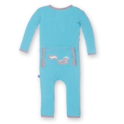 Kickee Pants Applique Coverall Confetti Skunk